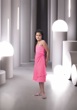 US$95.99 2015 Pink Flower Spaghetti Straps Chiffon Ruched Sleeveless Tea Length