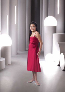 US$93.99 2015 Red Spaghetti Straps Chiffon Ruched Sleeveless Tea Length
