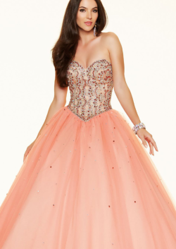 US$178.99 2016 Sleeveless Pink Beading Lace Up Tulle Sweetheart Ball Gown Floor Length