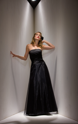 US$168.99 2015 Sleeveless Zipper Jacket Strapless Black Satin Chiffon Floor Length