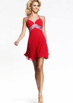 US$132.99 2015 Straps Beading Criss Cross Sleeveless Ruched Chiffon Red