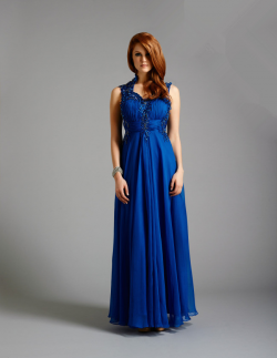 US$178.99 2015 Straps Crystals Chiffon Tulle Floor Length Blue