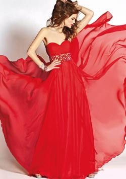 US$168.99 2015 Sweetheart Red Zipper Crystals Chiffon Floor Length Sleeveless