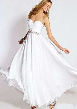 US$145.99 2015 White Zipper Sweetheart Beading Chiffon Ruched Floor Length