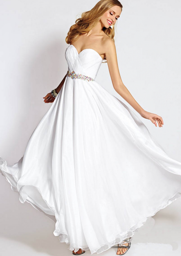 US$145.99 2015 White Zipper Sweetheart Beading Chiffon Ruched Floor Length