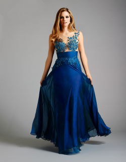 US$178.99 2015 Zipper Blue Appliques Scoop Tulle Chiffon Ruched Floor Length