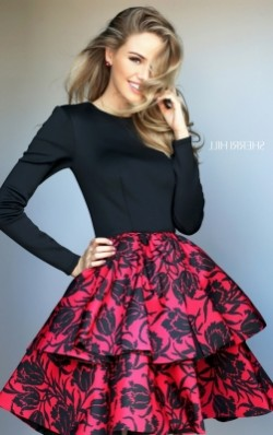 Black Red Floral Printed Layered Homecoming Dresses 2016 with Open Back [Sherri Hill 50559 Red]  ...