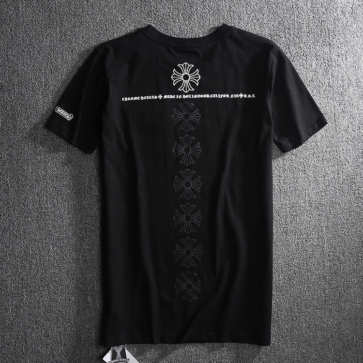 Chrome hearts a row signature crosses back printed black t for Printed t shirt cheap
