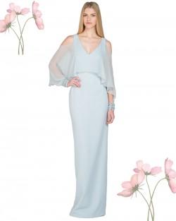 Light Blue Cold-Shoulder Cape-Sleeve Evening Gown Back Slit [EG1914] – $120.00 : Lady in P ...