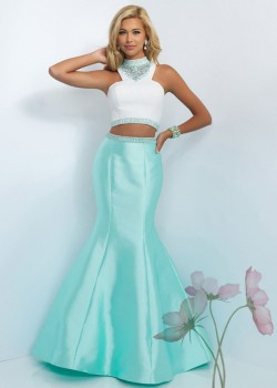 2016 Off White Mint Colorful Two Piece High Neck Mermaid Prom Dress [Blush 11004 Off White/Mint] ...