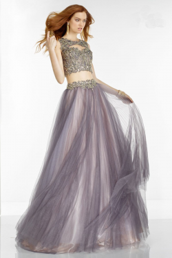 US$178.99 2016 Appliques Tulle Ruched Grey Sleeveless Straps Two-piece Ball Gown Floor Length