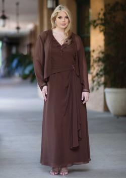 US$161.99 2015 Brown Ruched Jacket Sleeveless Chiffon V-neck Floor Length