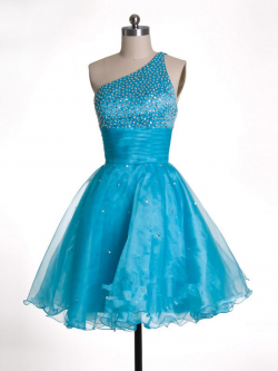 US$163.99 2015 One Shoulder Blue Sleeveless Tulle Zipper Crystals Short Length