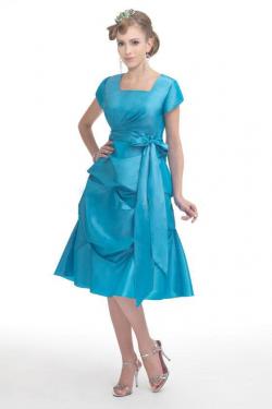 US$145.99 2015 Square Sash Blue Short Sleeves Taffeta Buttons Knee Length
