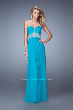 US$155.99 2015 Sweetheart Ruched Zipper Appliques Sleeveless Chiffon Blue
