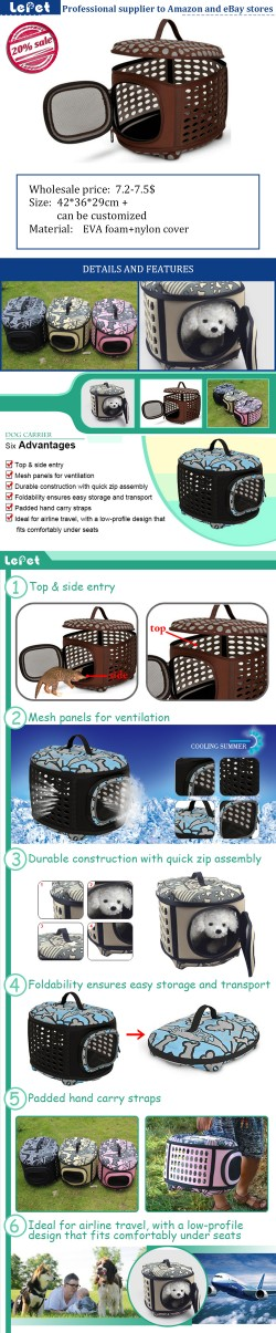 Comfort travel EVA foam Soft Portable Dog Carrier Pet Travel Bag wholesale