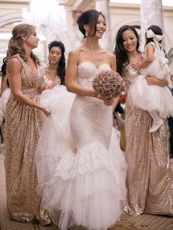 Gold Sequin Bridesmaid Dresses UK by Dressfashion.co.uk