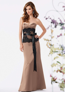 US$138.99 2015 Appliques Sash Floor Length Sweetheart Satin Brown