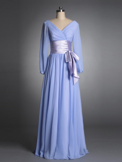 US$178.99 2015 Bow Light Blue V-neck V-back Zipper Long Sleeves Chiffon Ruched Floor Length