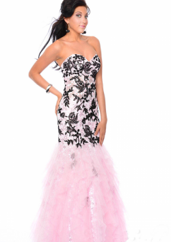 US$178.99 2015 Pink Lace Up Appliques Sweetheart Sequins Floor Length Tulle Mermaid