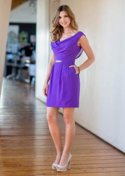 US$129.99 2015 Ruched Chiffon V-neck Pockets Zipper Sleeveless Purple Short Length