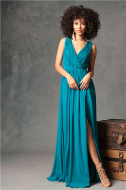 US$140.99 2016 Ruched Floor Length Split-front V-back A-line V-neck Chiffon Sleeveless