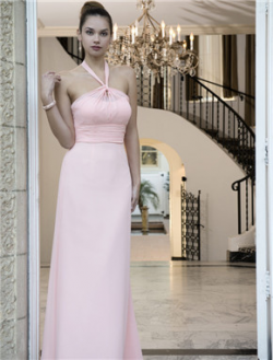 US$141.99 2016 Ruched Halter Pink Zipper Floor Length Chiffon A-line Sleeveless