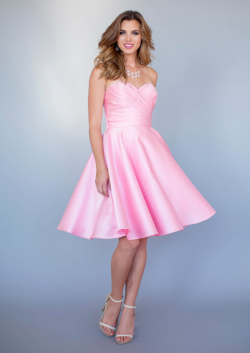 US$134.99 2015 Ruched Pink Sweetheart Knee Length Satin Sleeveless