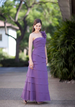 US$159.99 2015 Sleeveless Tiers Flower Ruched Ankle Length One Shoulder Purple