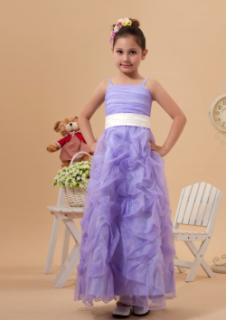 US$105.99 2015 Tulle Sleeveless Straps Lilac Ruched Zipper Ribbon Tea Length