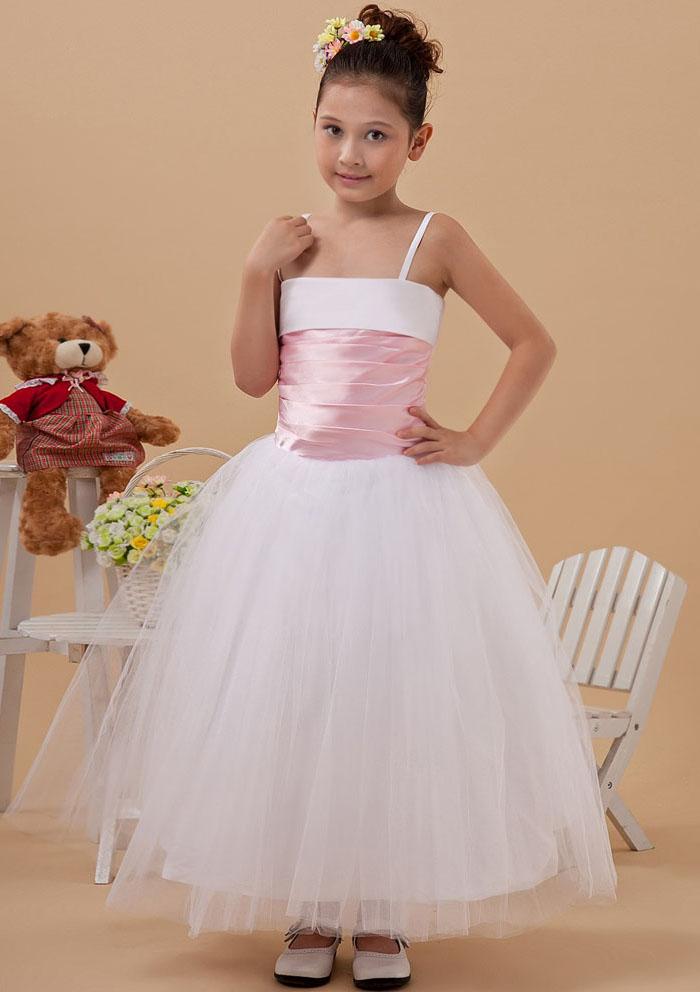 US$99.99 2015 Tulle Spaghetti Straps Zipper Ribbon Sleeveless White Tea Length Ball Gown