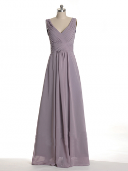 US$168.99 2015 V-neck V-back Zipper Grey Sleeveless Chiffon Ruched Floor Length