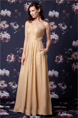 US$141.99 2016 Zipper Chiffon Champagne Floor Length Sleeveless A-line Ruched Sweetheart