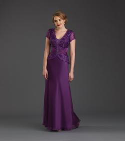 US$158.99 2015 Zipper V-neck V-back Chiffon Purple Red Short Sleeves Beading Floor Length