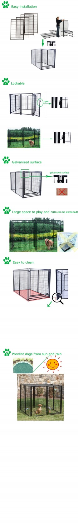High quality large outdoor metal welded wire dog kennel wholesale
