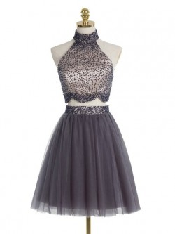 A-line High Neck Two Piece Tulle Beading Full Back Short/Mini Prom Dresses in UK