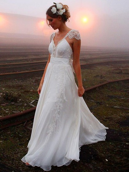 Different V-neck Chiffon Sweep Train Beading Backless Wedding Dress in UK