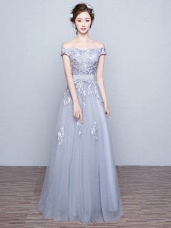 Exclusive A-line Tulle Appliques Lace Off-the-shoulder Long Prom Dresses in UK