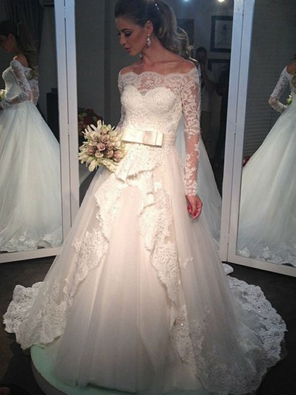 Princess Tulle Sashes / Ribbons Perfect Long Sleeve Off-the-shoulder Wedding Dresses in UK