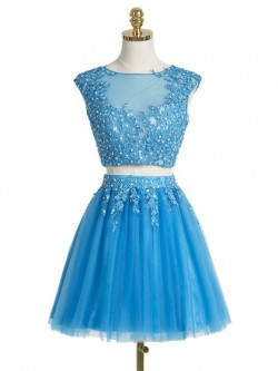 Sweet A-line Scoop Neck Tulle Short/Mini Appliques Lace Two Piece Prom Dresses in UK