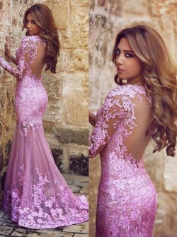 Trumpet/Mermaid V-neck Lilac Tulle Appliques Lace Long Sleeve Prom Dress in UK