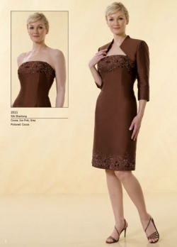US$158.99 2015 Brown Strapless Satin Jacket Appliques Sleeveless Knee Length