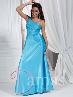 US$153.99 Lace Up Satin Sky Blue A-line Sleeveless One Shoulder Floor Length Ruched