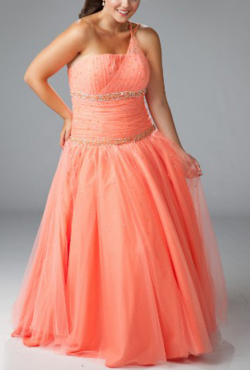 US$168.99 2015 Satin Lace Up Floor Length Orange Beading One Shoulder Sleeveless Ruched Ball Gown