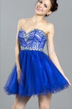 US$145.99 2016 Sweetheart Tulle Crystals Lace Up Ruched Short Length Blue