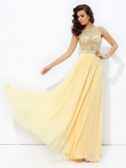 A-Line/Princess Beading Sleeveless Bateau Chiffon Floor-Length Dresses – Prom Dresses 2017 ...