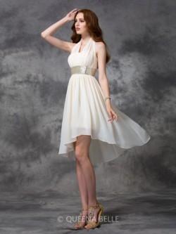 A-line/Princess Halter Sleeveless Sequin Asymmetrical Chiffon Cocktail Dresses – Short Pro ...
