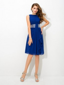 A-Line/Princess High Neck Sleeveless Knee-Length Beading Chiffon Cocktail Dresses – Short  ...
