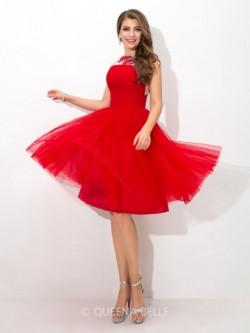 A-Line/Princess Sheer Neck Sleeveless Short/Mini Applique Net Cocktail Dresses – Short Eve ...
