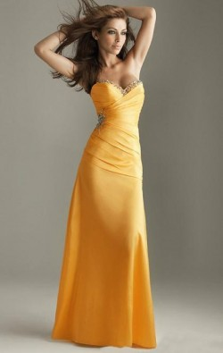 2014 Long Yellow Tailor Made Evening Prom Dress (LFNAE0037) cheap online-MarieProm UK
